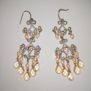 Hand Crafted SS Chandelier Earrings Peach